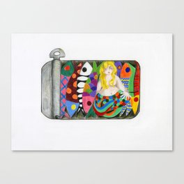 A Siren and seven Sardines Canvas Print