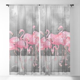 Flamingo Collage in Watercolor and Ink Sheer Curtain