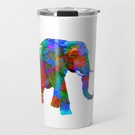 Crayon Colored Elephant with Yellow Balloon Travel Mug