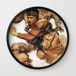 Joseph Christian Leyendecker - Rugby Player, Tackle - Digital Remastered Edition Wall Clock