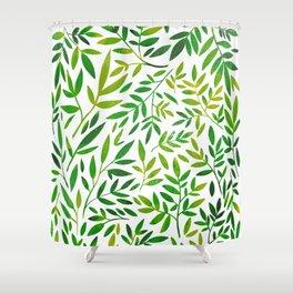 Green leaf botanical pattern Shower Curtain