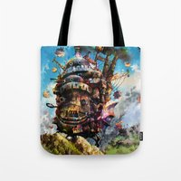 calcifer Tote Bags featuring howl's moving castle by ururuty