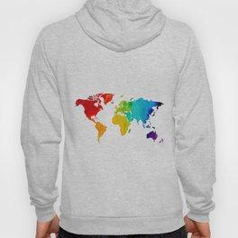 Original Watercolor - Map of The World - Travel Art - Chakra Rainbow Colors Hoody