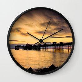 Sunrise at Llandudno Pier Wall Clock