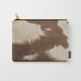 Cowhide Brown and White Carry-All Pouch