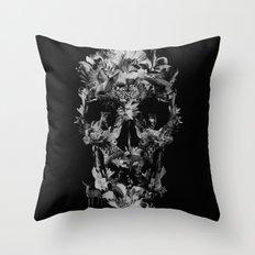 Jungle Skull B&W Throw Pillow