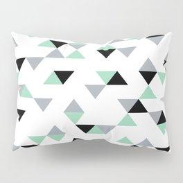 Triangles Mint Grey Pillow Sham