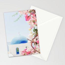 Santorini Greece Mamma Mia Pink Flowers Stationery Cards