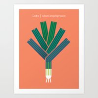 vegetable Art Prints featuring Vegetable: Leek by Christopher Dina