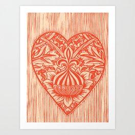 Red Fleur de Lis Heart Art Print