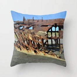 Shipwreck On Oregon Beach Throw Pillow