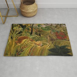 Tiger in a Tropical Storm - Surprised! by Henri Rousseau Rug