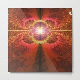A Beautiful Fractal Burst of Liquid Sunset Colors Metal Print
