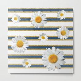 Spring Bloom | Navy in Gold Ribbon Metal Print