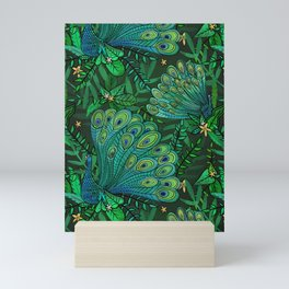 Peacocks in Emerald Forest Mini Art Print
