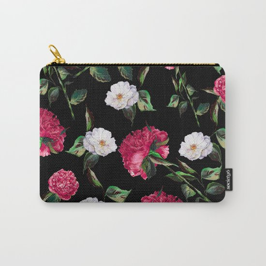 Dark Floral Pattern Carry-All Pouch