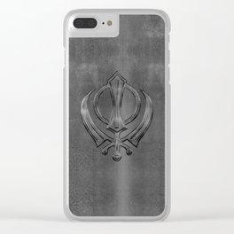 Metallic Embossed Khanda symbol Clear iPhone Case