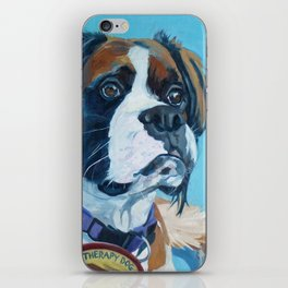 Nori the Therapy Boxer Dog Portrait iPhone Skin