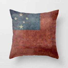 Samoan national flag - Vintage retro version to scale Throw Pillow