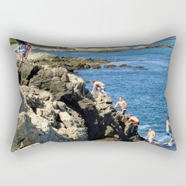 Jacob's Ladder - Newport Cliff Walk Cliff Diving, Rhode Island by Jeanpaul Ferro Rectangular Pillow