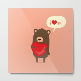 Cute cartoon bear holding heart. Metal Print