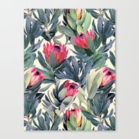 green Canvas Prints featuring Painted Protea Pattern by micklyn