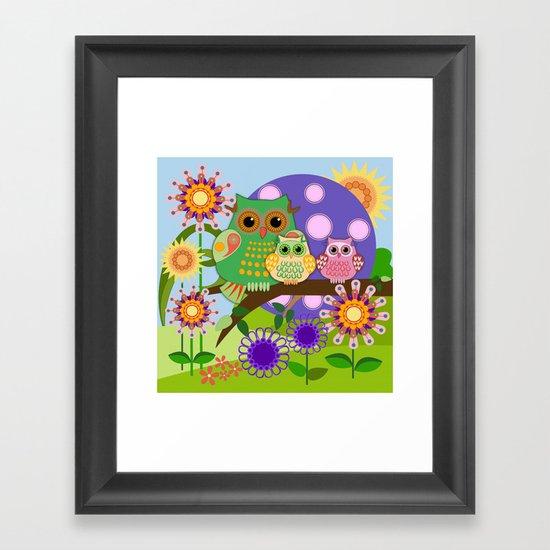 Owls, Flowers Fantasy design Framed Art Print