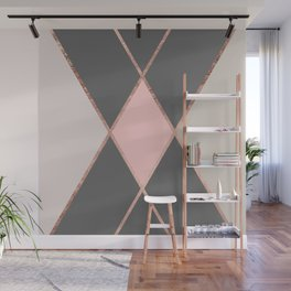 Modern pastel pink gray color block rose gold stripes Wall Mural
