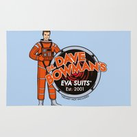 suits Area & Throw Rugs featuring Dr. Dave Bowman's EVA Suits by Doodle Dojo