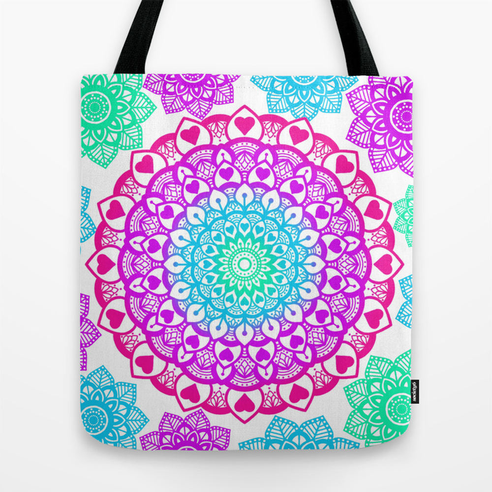 Flowers And Hearts Mandala Design Tote Bag by Amorasarinadesigns TBG8473600