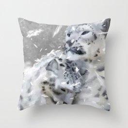 Snowy Leopards Throw Pillow