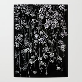 White ink. graphic with white ink  and black cardboard. flowers Poster