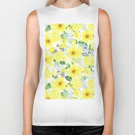 watercolor pattern yellow roses Biker Tank