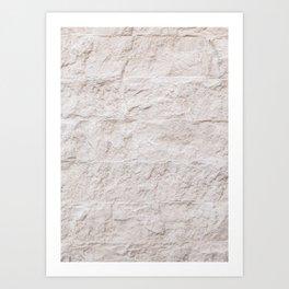Creme Brick Wall Pattern Photo Art Print | Mediterranean Architecture Europe Travel Photography Art Print