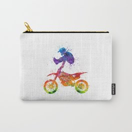 Boy Motocross Trick Colorful Watercolor Art Gift Dirt Bike Carry-All Pouch