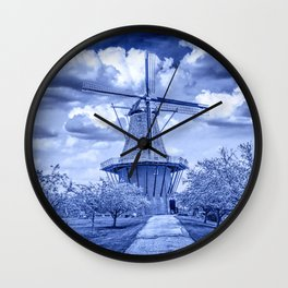 Delft Blue Dutch Windmill Wall Clock