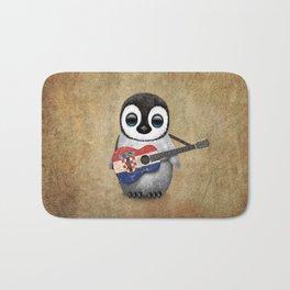 Baby Penguin Playing Croatian Flag Guitar Bath Mat