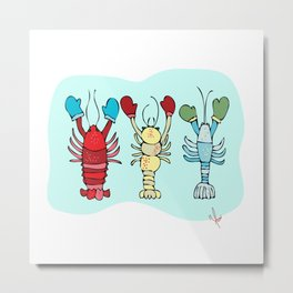 Three Maine Lobsters with Winter Mittens Metal Print