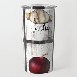 Rustic White Wood Herbs & Garden Vegetables Travel Mug