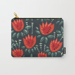 Abstract Red Tulip Floral Pattern Carry-All Pouch