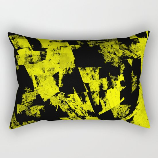 Fractured Warning - Black and yellow, abstract, textured painting Rectangular Pillow