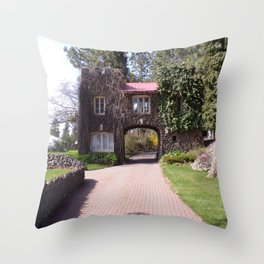 Beautiful Rock Building With Stone Path Through It Surrounded by Green Throw Pillow