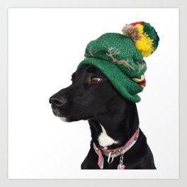 Rudy in Christmas Hat Art Print