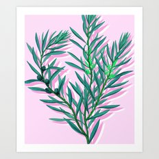 Olive branches in pink and green Art Print