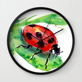 Lady Bug on a Green Leaf Wall Clock