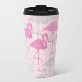 flamingos in pink and gray Travel Mug