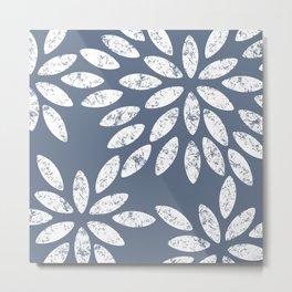 Marbled Grey Flowers Pattern Metal Print