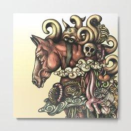Horse Doodle Flat Metal Print