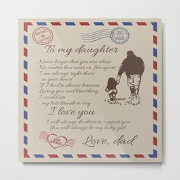 Air mail To my daughter I love you I will always be there to support you- You will  always be my  girl Love, Dad Father and daughter Blanket Duvet Cover Bedding Set Comforter Metal Print