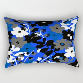 SUNFLOWER TRELLIS BLUE BLACK GRAY AND WHITE TOILE Rectangular Pillow